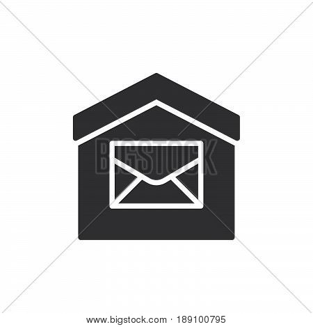 House and envelope icon vector filled flat sign solid pictogram isolated on white. Post office symbol logo illustration. Pixel perfect