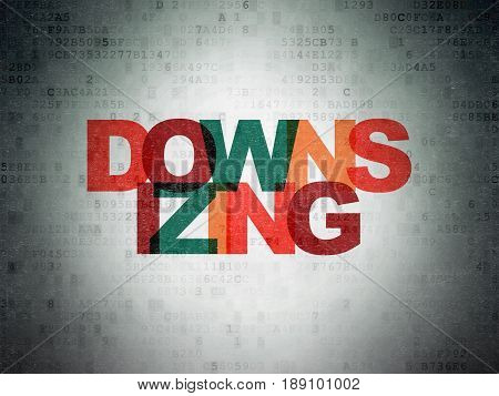 Business concept: Painted multicolor text Downsizing on Digital Data Paper background