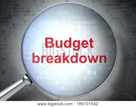 Finance concept: magnifying optical glass with words Budget Breakdown on digital background, 3D rendering