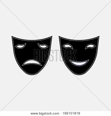 icon sad and funny masks theater carnival mystery fully editable vector image
