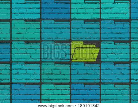 Finance concept: rows of Painted blue folder icons around green folder icon on Black Brick wall background