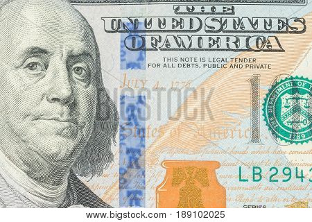 Central part of One hundred dollar bill