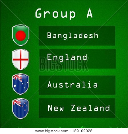 illustration shields in Bangladesh, England, Australia and New Zealand flag background for cricket event