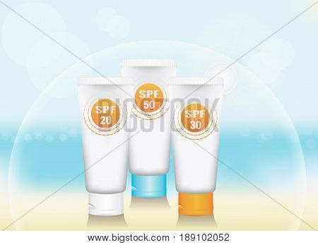 a set of blank vertical tube for cosmetic product on a background of sea beach. colored caps. signs SPF. the symbolic dome of protection. realistic template for advertising. vector illustration