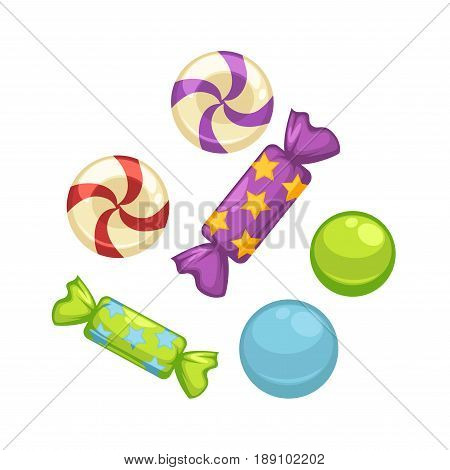 Candy comfits and caramel bonbon sweets. Vector isolated flat icons of confectionery sucker toffees or marmalade lollipops
