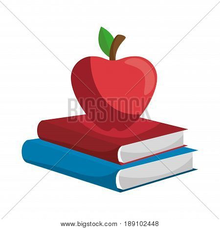 Books with apple fruit icon vector illustration graphic design