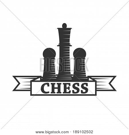 Chess club vector logo template of chessman king and rook or pawn with ribbon. Isolated label or icon for championship or tournament
