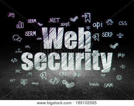 Web development concept: Glowing text Web Security,  Hand Drawn Site Development Icons in grunge dark room with Dirty Floor, black background