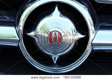 An image of a v8 emblem - vintage - Kaunitz/Germany - 2017 May 27.