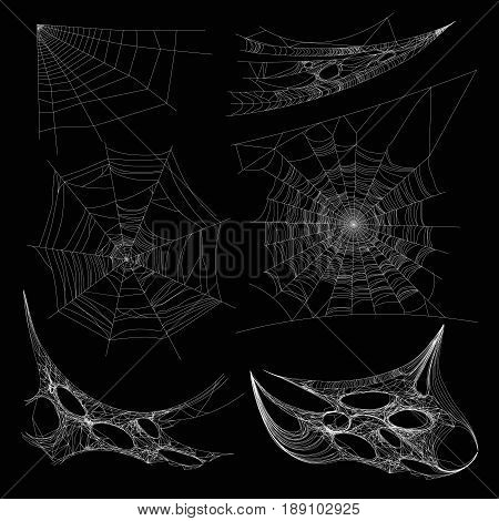 Spiderweb or spider web and cobweb on wall corner. Vector isolated realistic net icon on black background for Halloween design element