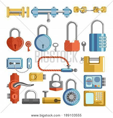 Door locks and padlock latches with keys, handles and keyholes. Vector isolated electronic code and metal chain of retro vintage and modern flat icons set of gate valves in different types