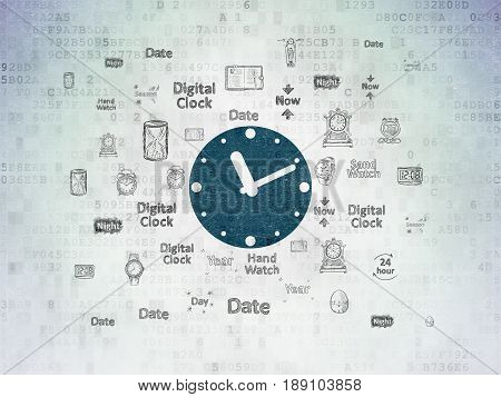 Timeline concept: Painted blue Clock icon on Digital Data Paper background with  Hand Drawing Time Icons