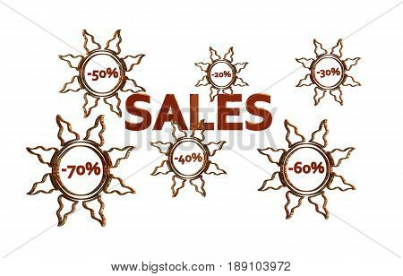 Red Sales design with discount numbers inside golden suns with white background