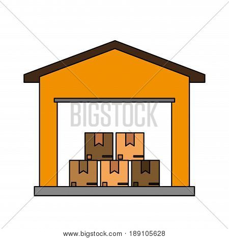color image cartoon storage cellar with multiple package vector illustration