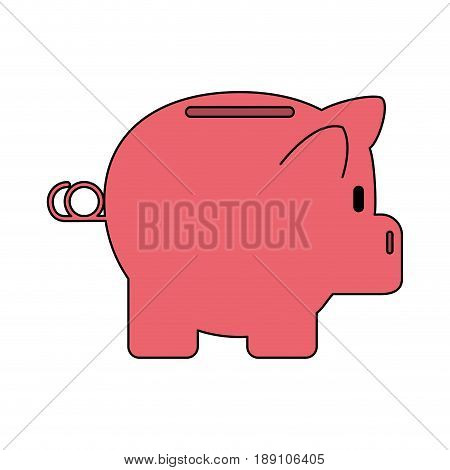 color silhouette cartoon side view pink piggy bank vector illustration