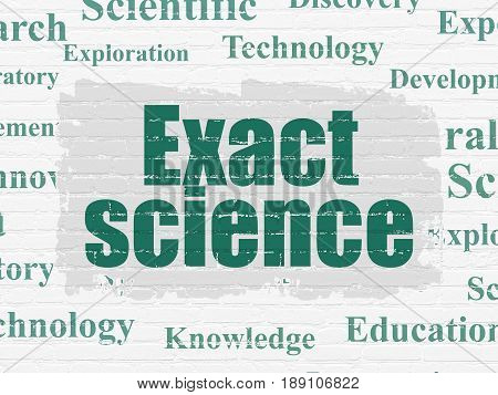 Science concept: Painted green text Exact Science on White Brick wall background with  Tag Cloud