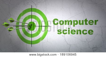 Success Science concept: arrows hitting the center of target, Green Computer Science on wall background, 3D rendering