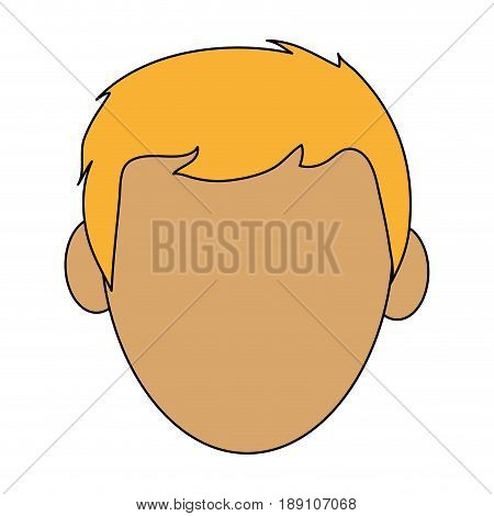color silhouette cartoon front view faceless front view man with blond hair vector illustration