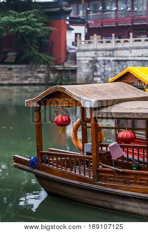 Cruise boats in the canal close to the Confucius Temple Complex, Nanjing, China.