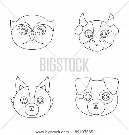 Owl, cow, wolf, dog. Animal s muzzle set collection icons in outline style vector symbol stock illustration .