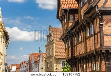 Historic Facades In The Central Street Of Stadthagen