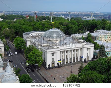 Kiev Ukraine - MAY 20 2017: view of the building of the Verkhovna Rada and the Mariinsky Palace in the Mariinsky Park top view editorial