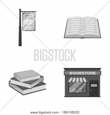A signboard, a bookstore, a stack of books, an open book. A library and a bookstore set collection icons in monochrome style vector symbol stock illustration .
