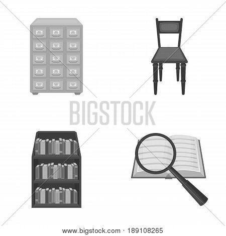 Cabinet with filing cabinet, chair, shelves, information search. Library and bookstore set collection icons in monochrome style vector symbol stock illustration .