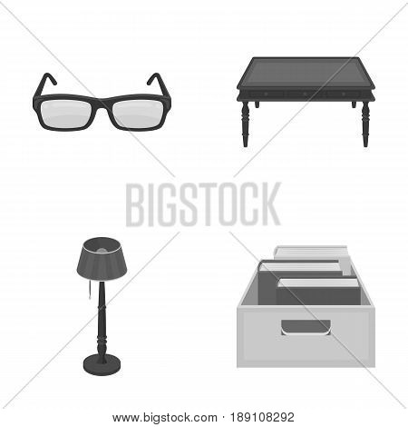 Glasses, a wooden table, a floor lamp, a box with books. A library and a bookstore set collection icons in monochrome style vector symbol stock illustration .