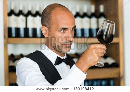Professional sommelier examining wine in a glass. Bartender examining red wine in glass at shop. Multiethnic sommelier examining glass with red wine.