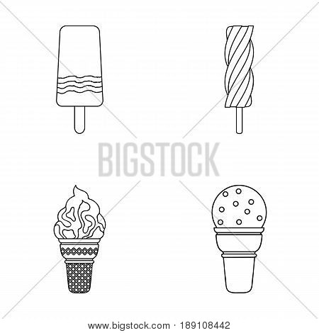Ice cream on a stick, in a waffle cone and other species. Ice cream set collection icons in outline style vector symbol stock illustration .