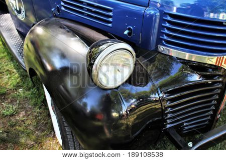 Classic us car, vintage, headlight - Kaunitz/Germany - 2017 May 27.