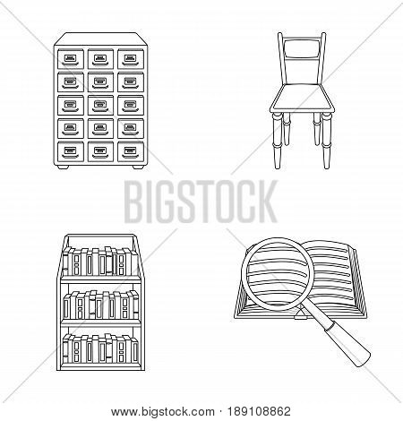 Cabinet with filing cabinet, chair, shelves, information search. Library and bookstore set collection icons in outline style vector symbol stock illustration .