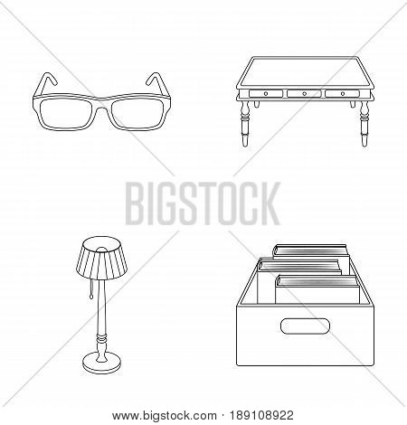 Glasses, a wooden table, a floor lamp, a box with books. A library and a bookstore set collection icons in outline style vector symbol stock illustration .