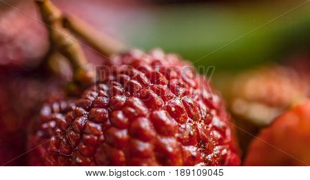 Peeled fresh lychee or litchi fruits. Closeup.