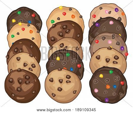 an illustration of a display of biscuits and cookies with chocolate and candy chips on a white background