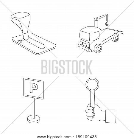 Transmission handle, tow truck, parking sign, stop signal. Parking zone set collection icons in outline style vector symbol stock illustration .
