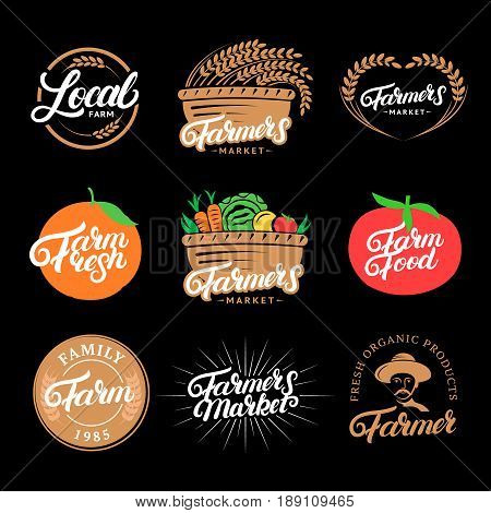 Set of Farm hand written lettering logos, labels, badges, emblems for farmers market, food, local farm. Vintage retro style. Isolated on background. Vector illustration.