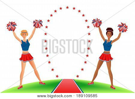 Girls support dancing. Cheerleaders with pom-poms near the stargate. European girl with red hair and an African girl with dark curly hair. Raster version.