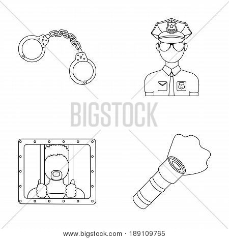 Handcuffs, policeman, prisoner, flashlight.Police set collection icons in outline style vector symbol stock illustration .