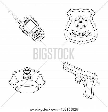 Radio, police officer s badge, uniform cap, pistol.Police set collection icons in outline style vector symbol stock illustration .