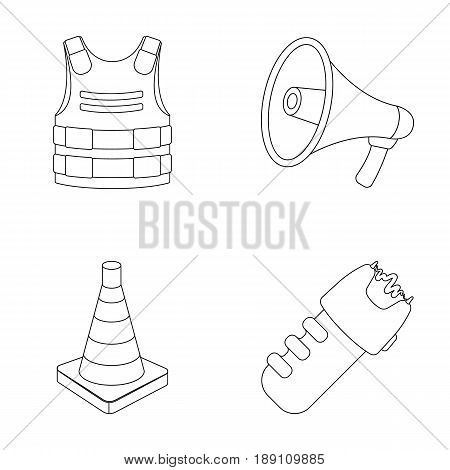 Bulletproof vest, megaphone, cone of fencing, electric shock. Police set collection icons in outline style vector symbol stock illustration .