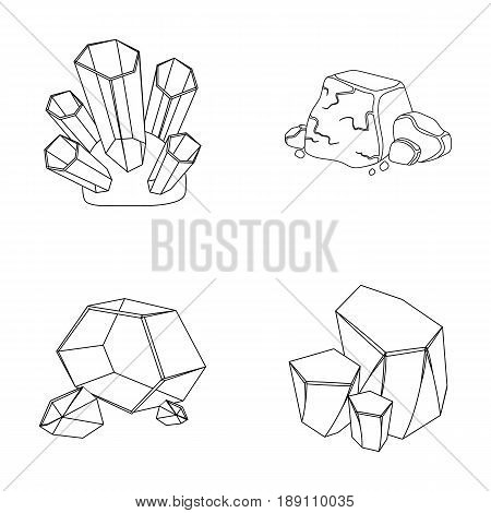 Crystals, iron ore. Precious minerals and a jeweler set collection icons in outline style vector symbol stock illustration .