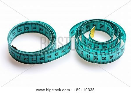 Circles Of Measuring Tape Isolated On White Background