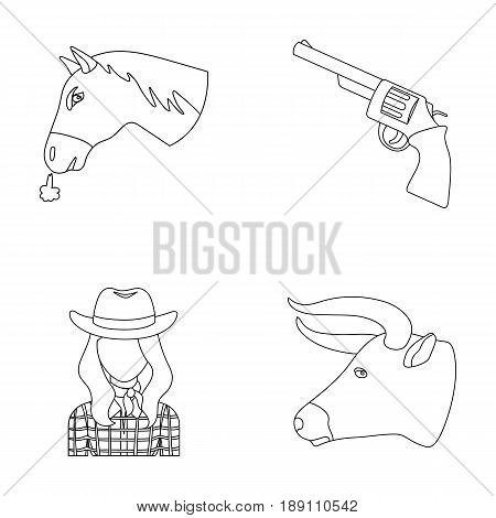 Head of a horse, a bull s head, a revolver, a cowboy girl.Rodeo set collection icons in outline style vector symbol stock illustration .