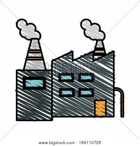 color crayon stripe cartoon building industrial factory vector illustration