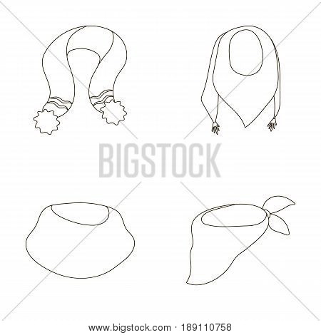 Various kinds of scarves, scarves and shawls. Scarves and shawls set collection icons in outline style vector symbol stock illustration .