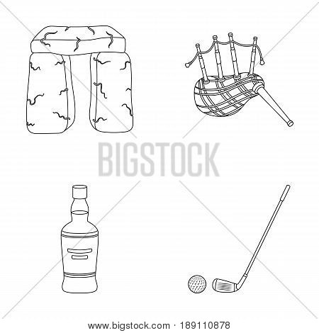 Stone monument, bagpipe, whiskey, golf. Scotland country set collection icons in outline style vector symbol stock illustration .