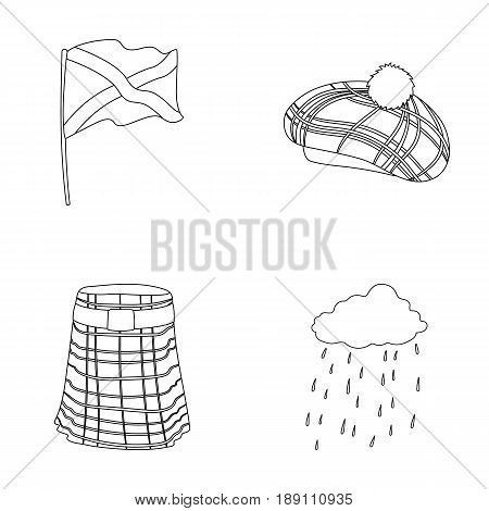 Flag, kilt, rainy weather, cap.Scotland country set collection icons in outline style vector symbol stock illustration .
