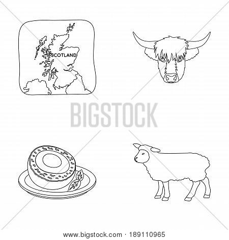 Territory on the map, bull s head, cow, eggs. Scotland country set collection icons in outline style vector symbol stock illustration .